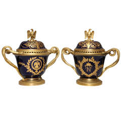 Pair French Napoleanic Sevres Porcelain & Ormolu Covered vases/Pot Pourries