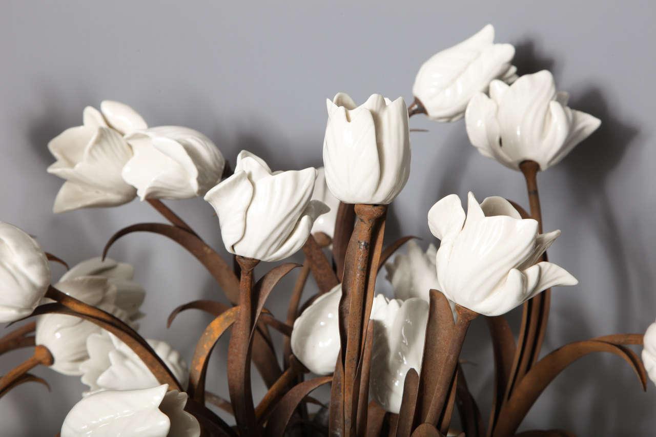 Metal Unusual Pair of Antique French Louis XVI Style Porcelain Flower Baskets, Jansen For Sale