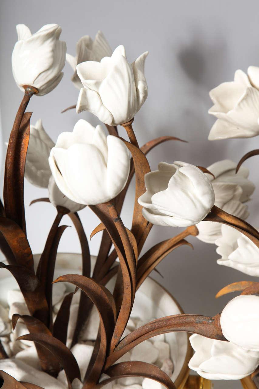 Unusual Pair of Antique French Louis XVI Style Porcelain Flower Baskets, Jansen For Sale 1