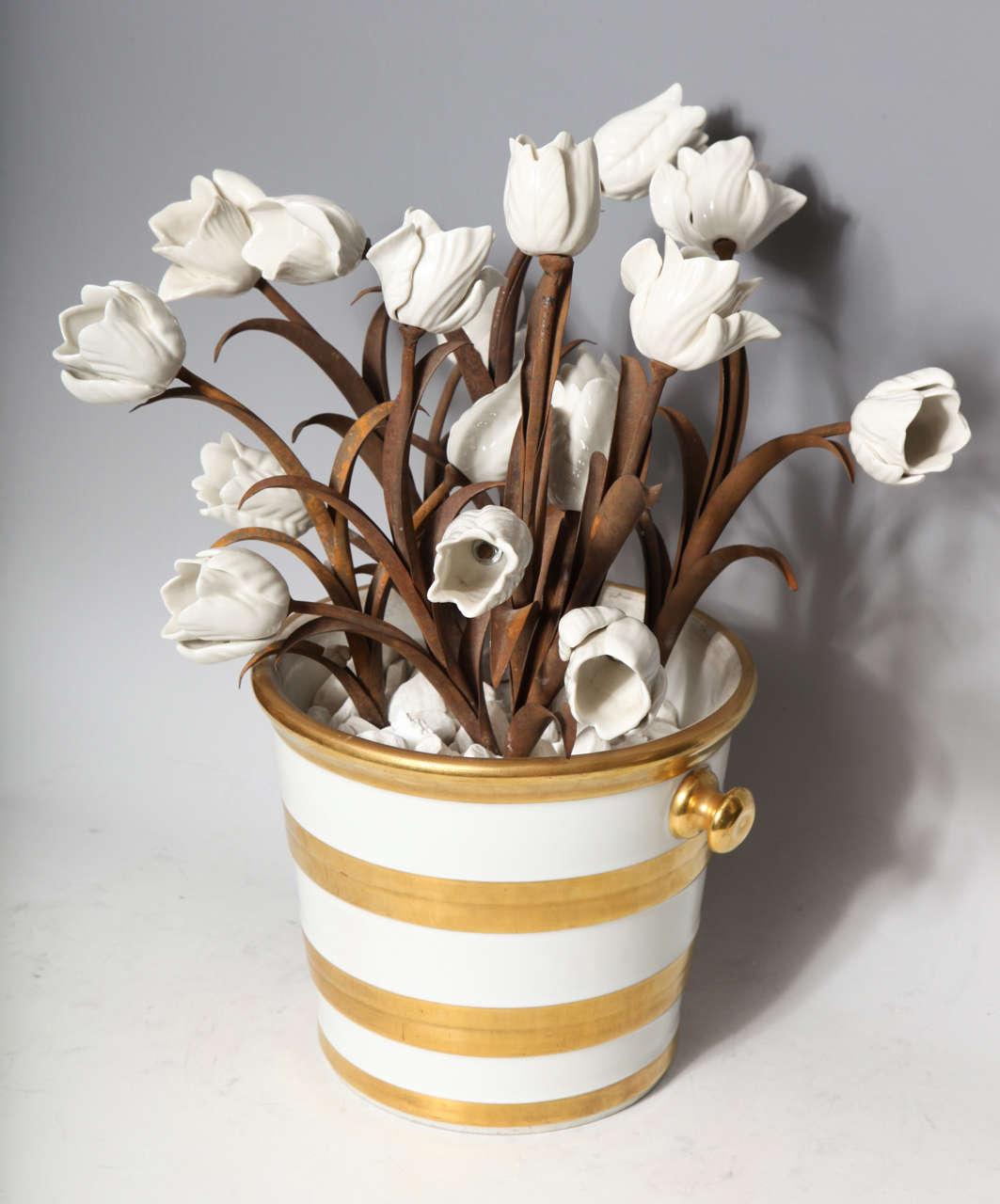 Unusual Pair of Antique French Louis XVI Style Porcelain Flower Baskets, Jansen For Sale 3
