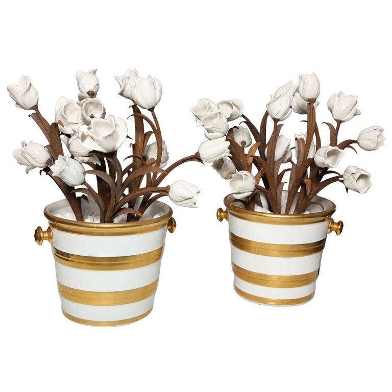 Unusual Pair of Antique French Louis XVI Style Porcelain Flower Baskets, Jansen For Sale