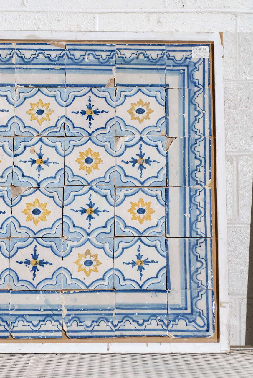 18th Century Portugese Tiles in Blue and Yellow, Circa 1780 at 1stdibs