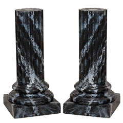 Early 20th Century Pair of Faux Marble Pedestals, Circa 1920
