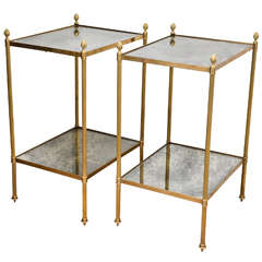 Pair of Two Tiered Brass, Mirrored End Tables