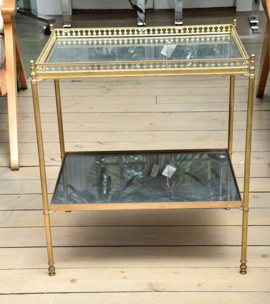 Pair Of Brass And Mirrored Glass Tables At 1stdibs