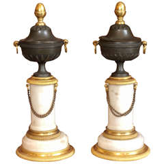Pair of Period Louis XVI Patinated and Gilt Bronze with Marble Cassolet
