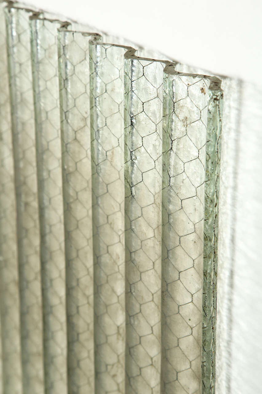 Corrugated Chicken Wire Glass Clear Color For Sale At 1stdibs