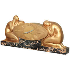French Art Deco Mantle Clock by Raoul-Eugène Lamourdedieu