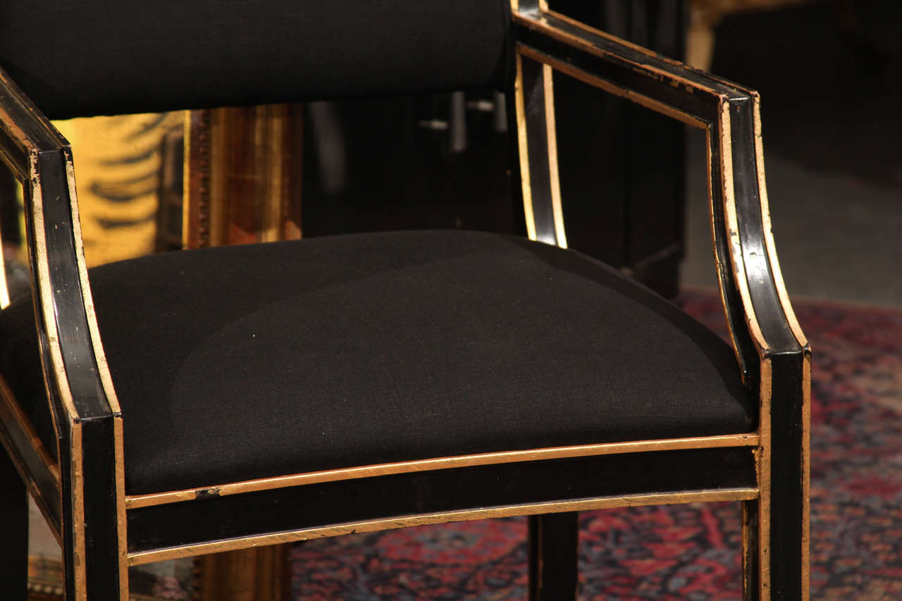 Mid-20th Century Six Handsome Chairs in Black Linen For Sale