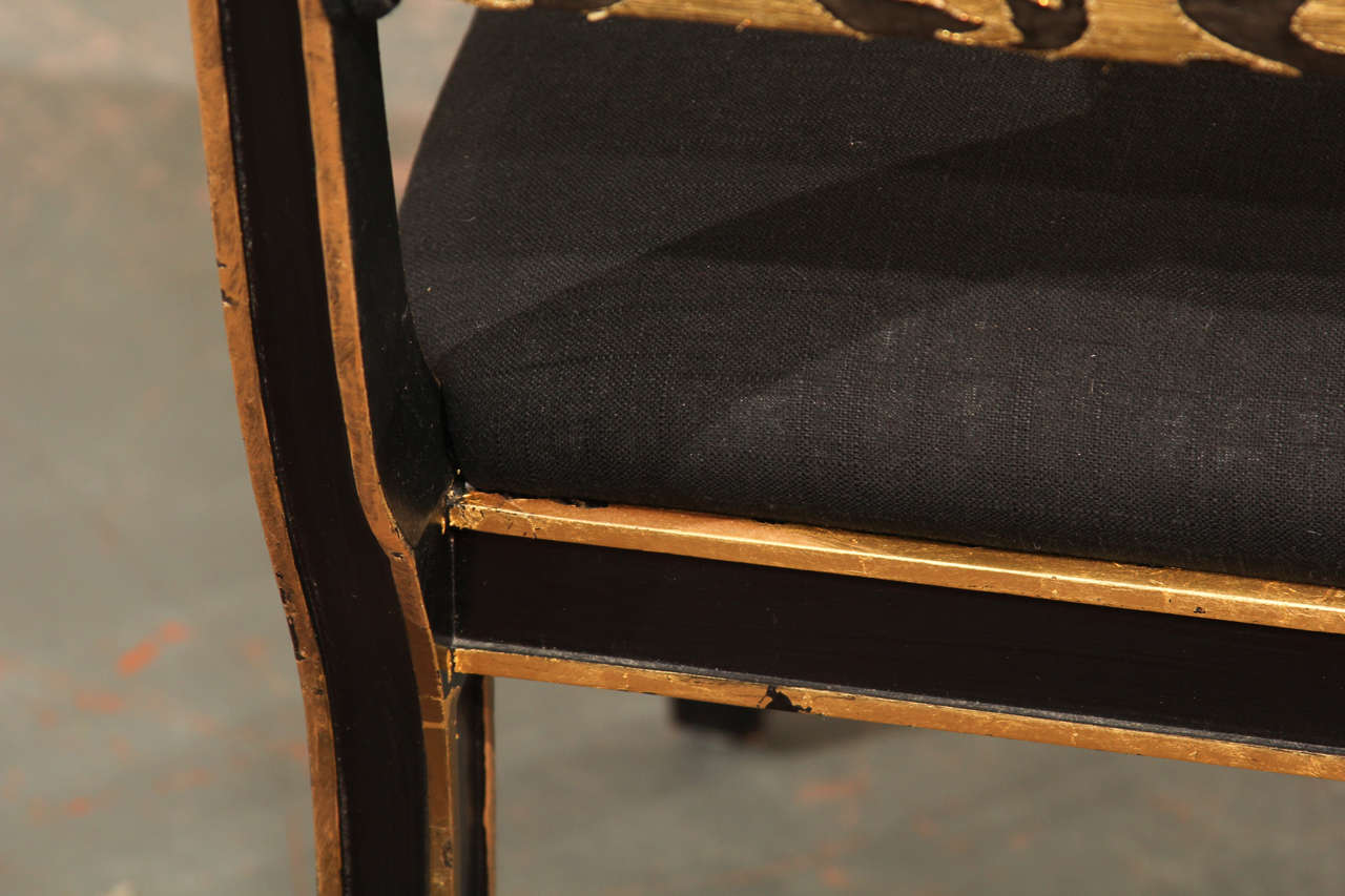 Paint Six Handsome Chairs in Black Linen For Sale
