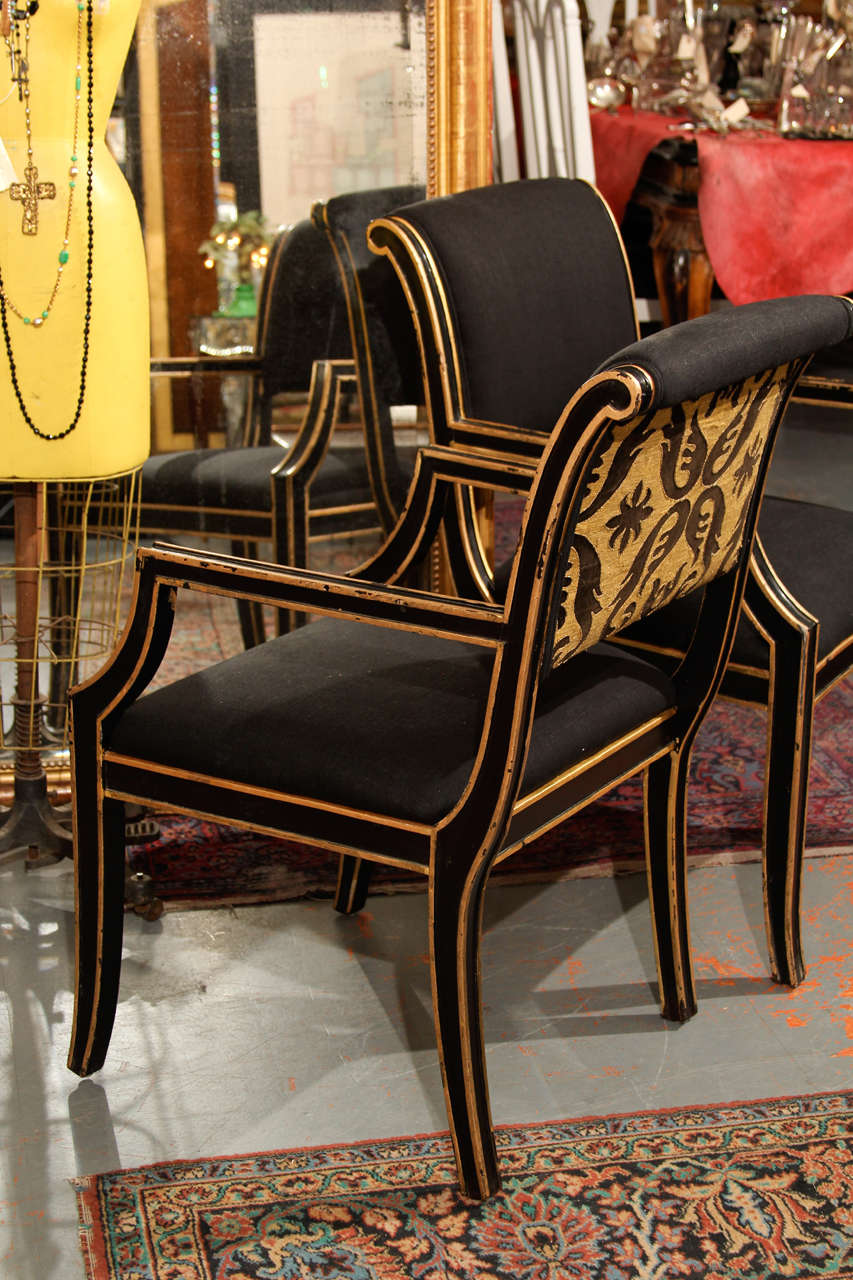 Six Handsome Chairs in Black Linen For Sale 1