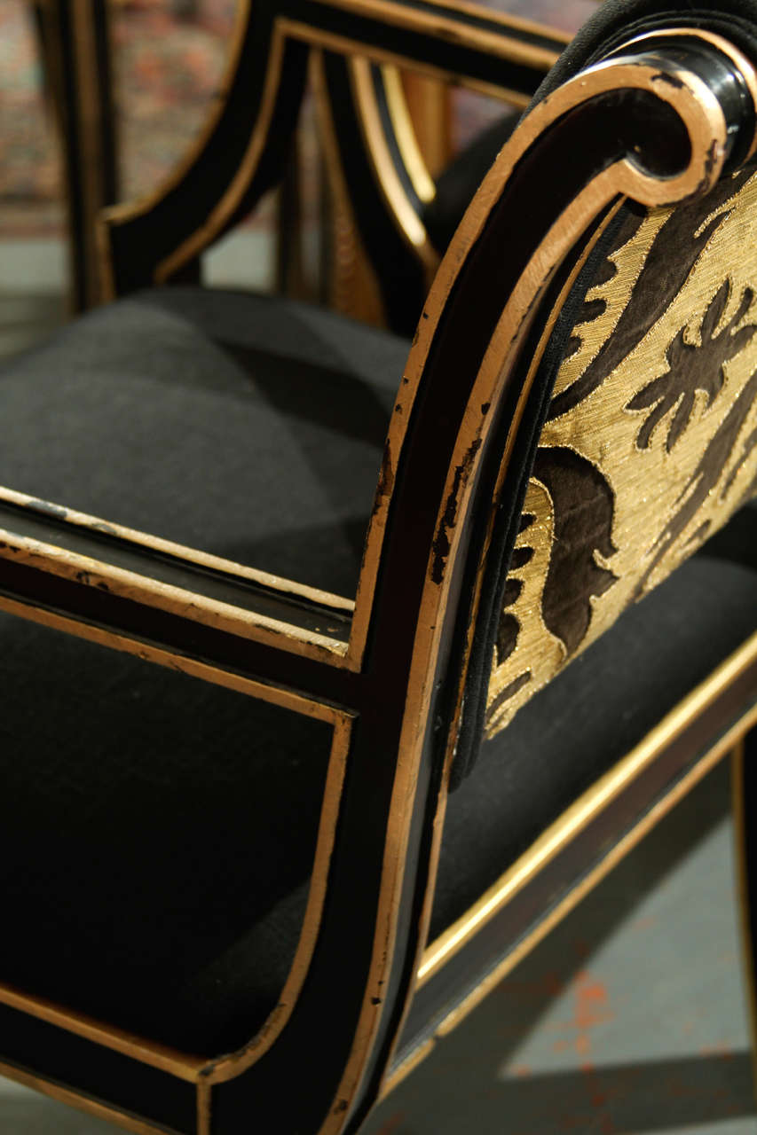 Six Handsome Chairs in Black Linen For Sale 2