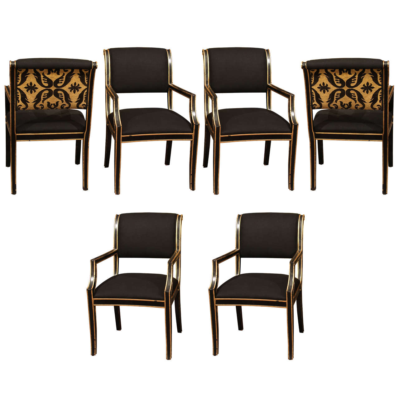 Six Handsome Chairs in Black Linen For Sale