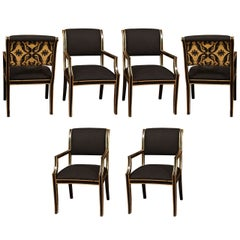 Six Handsome Chairs in Black Linen