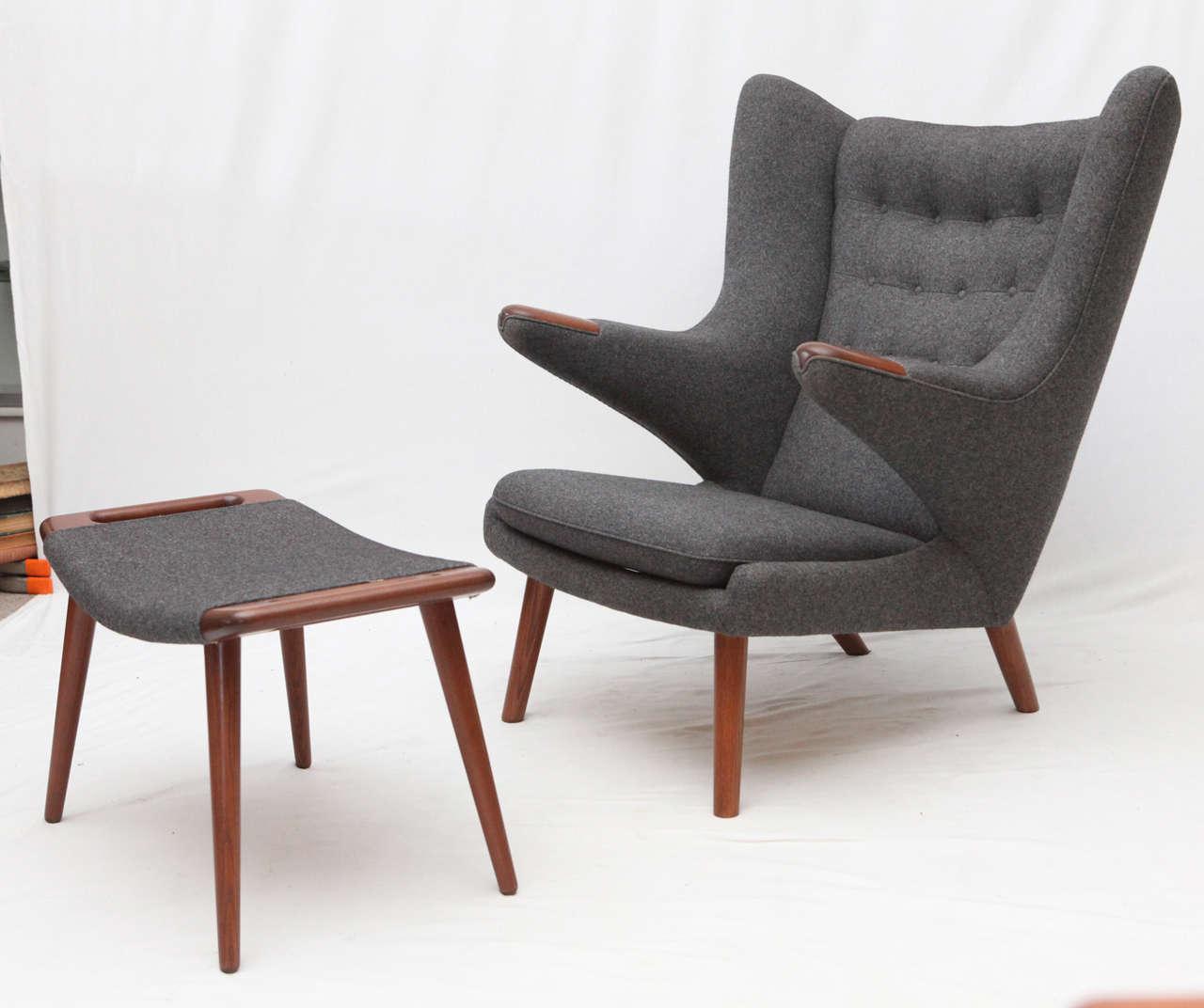 Hans Wegner Quot Papa Bear Quot Chair And Ottoman At 1stdibs