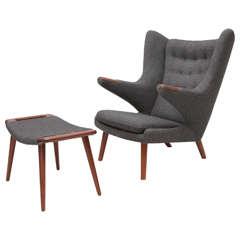 "Hans Wegner ""Papa Bear"" Chair and Ottoman"
