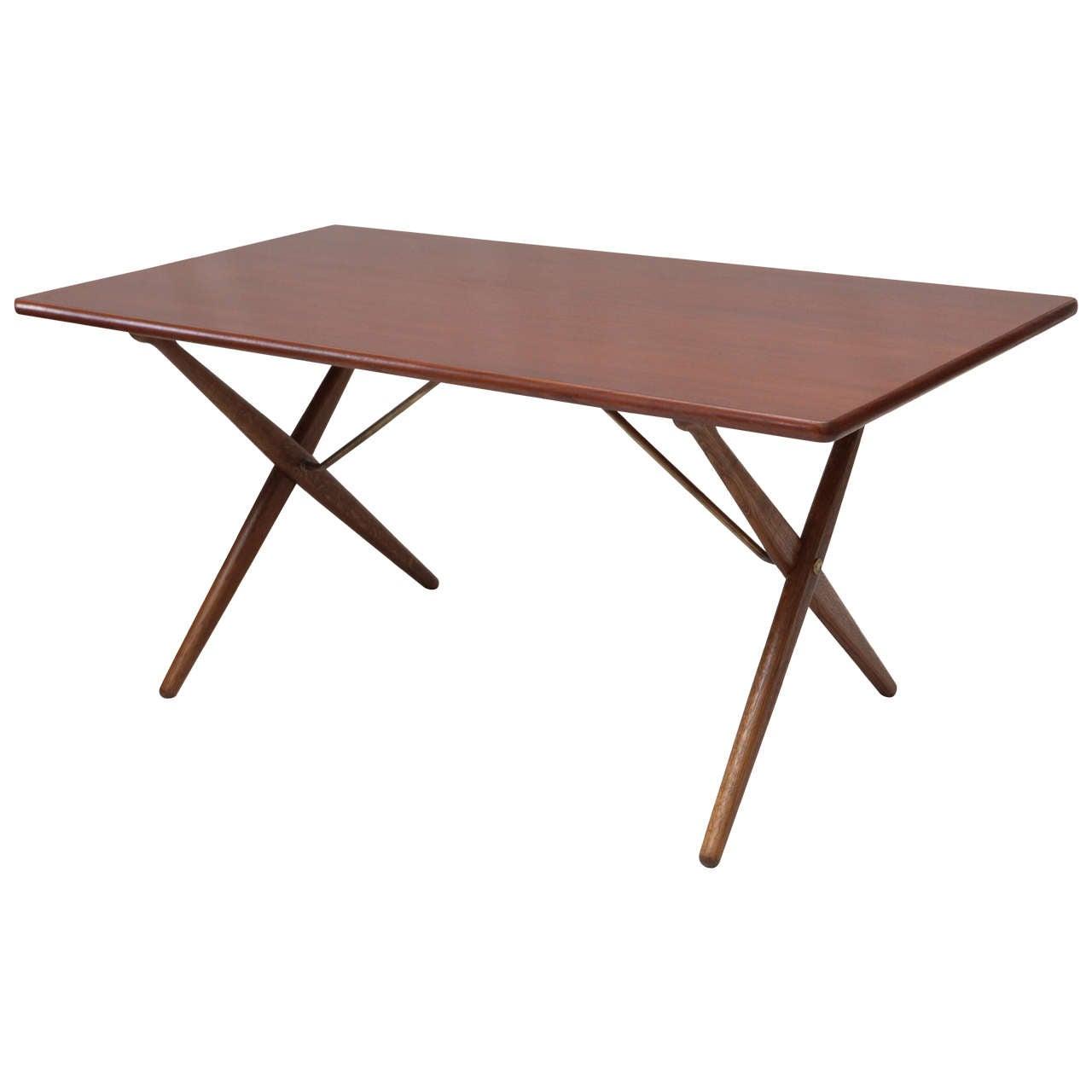 Hans Wegner AT 303 cross-leg table, 1950s, offered by Denmark 50