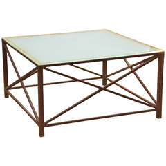 "American Rusted Iron Coffee Table with ""X"" Braced Sides"