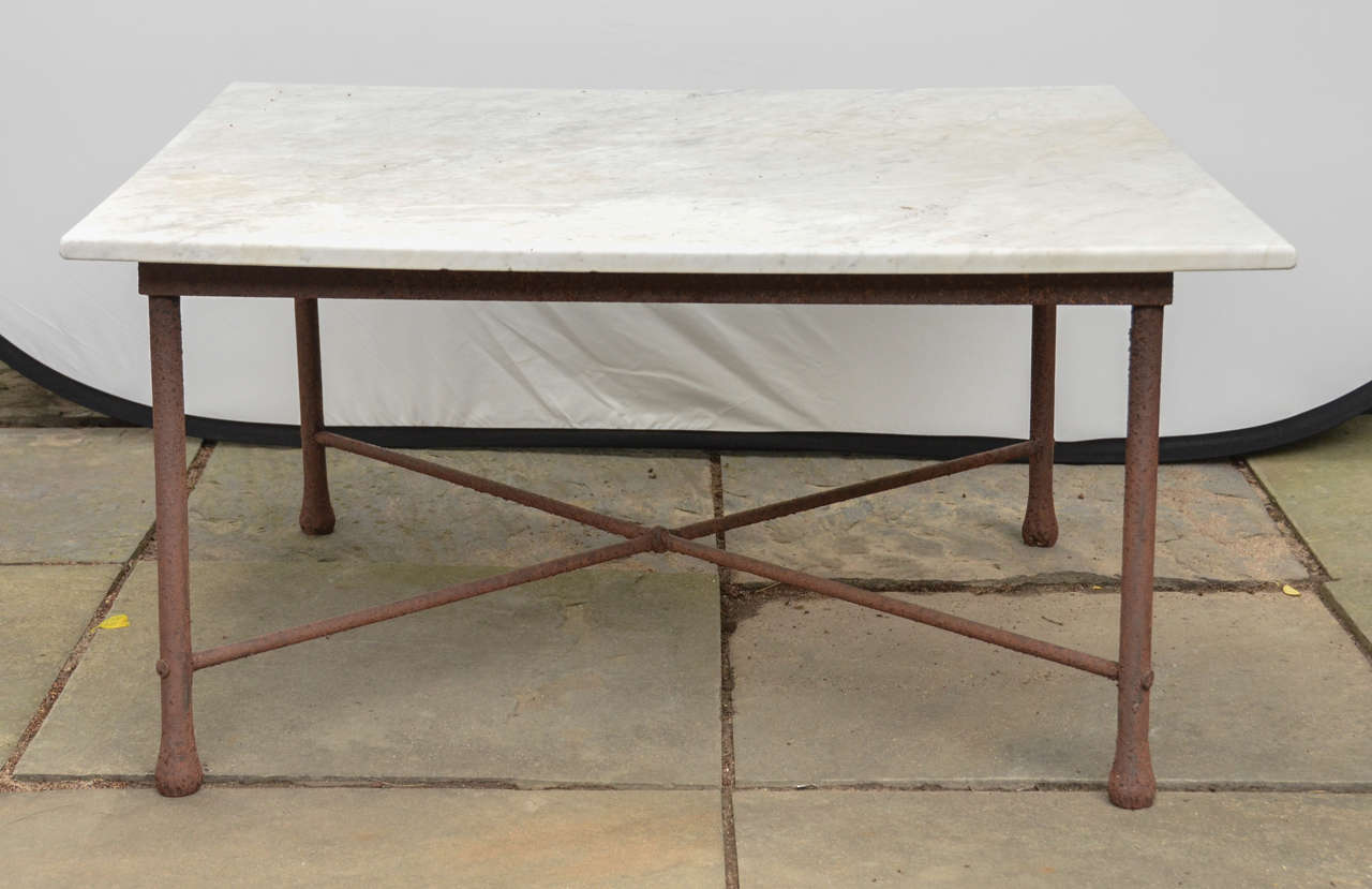 american 1970s wrought iron coffee table with marble top 2 - Marble Top Table