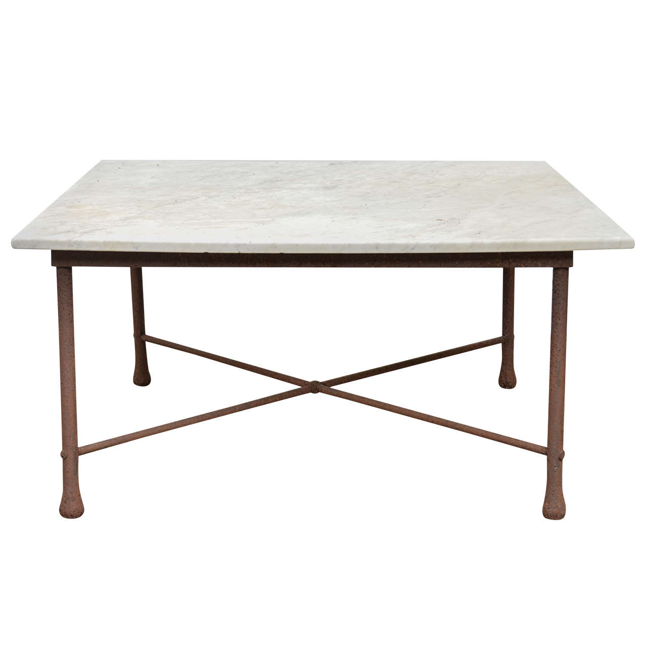 American 1970s wrought iron coffee table with marble top for Stone and iron coffee table