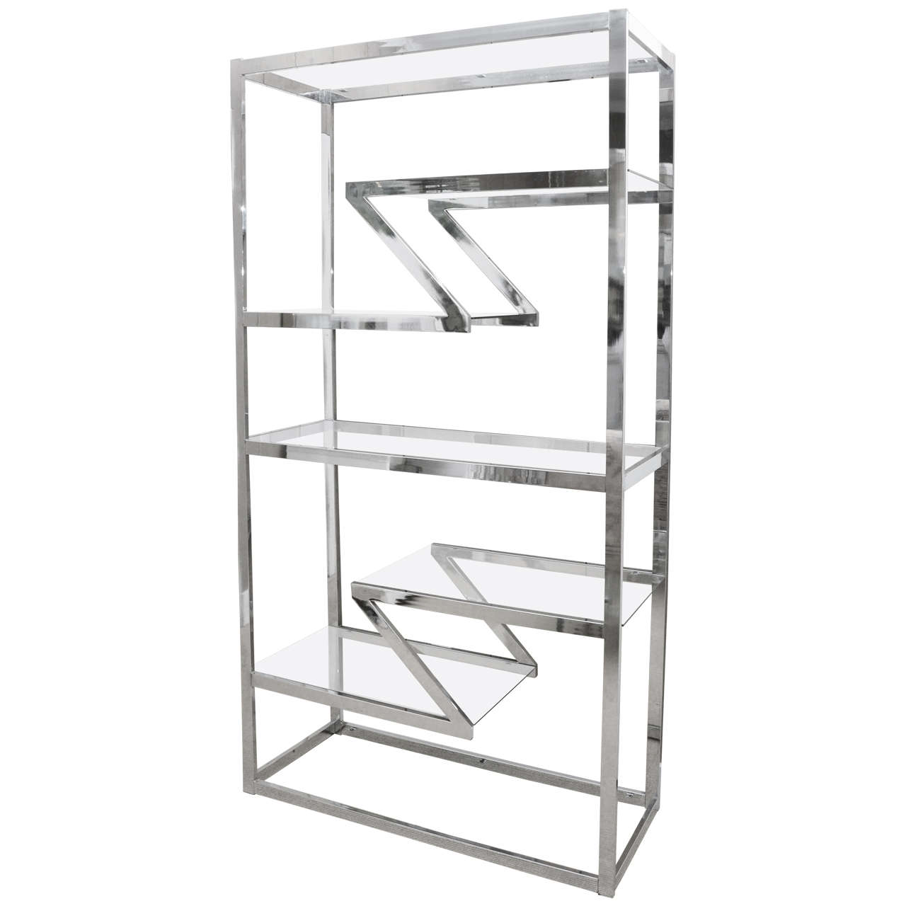 vintage chrome etagere attributed to milo baughman at 1stdibs. Black Bedroom Furniture Sets. Home Design Ideas