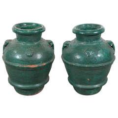 Italian Glazed Terra Cotta Urns