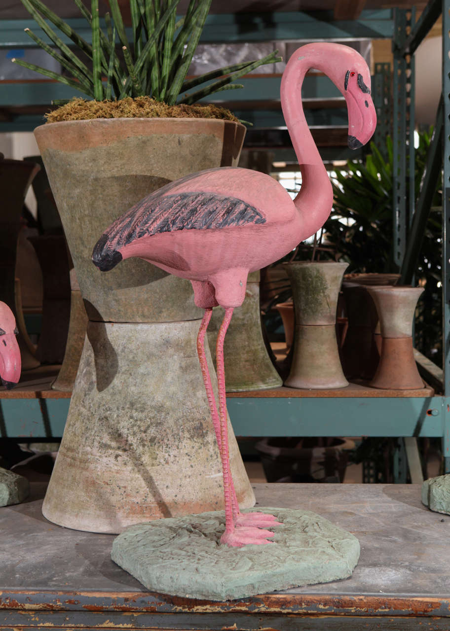 Pink Flamingo Garden Sculpture At 1stdibs