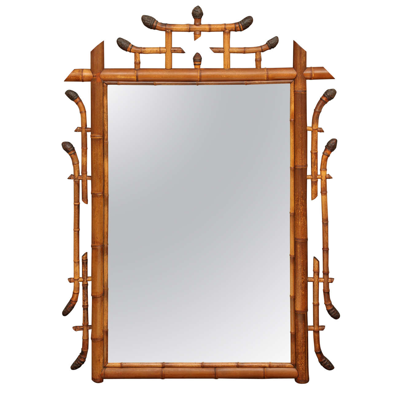 Large bamboo framed mirror at 1stdibs for Large framed mirrors