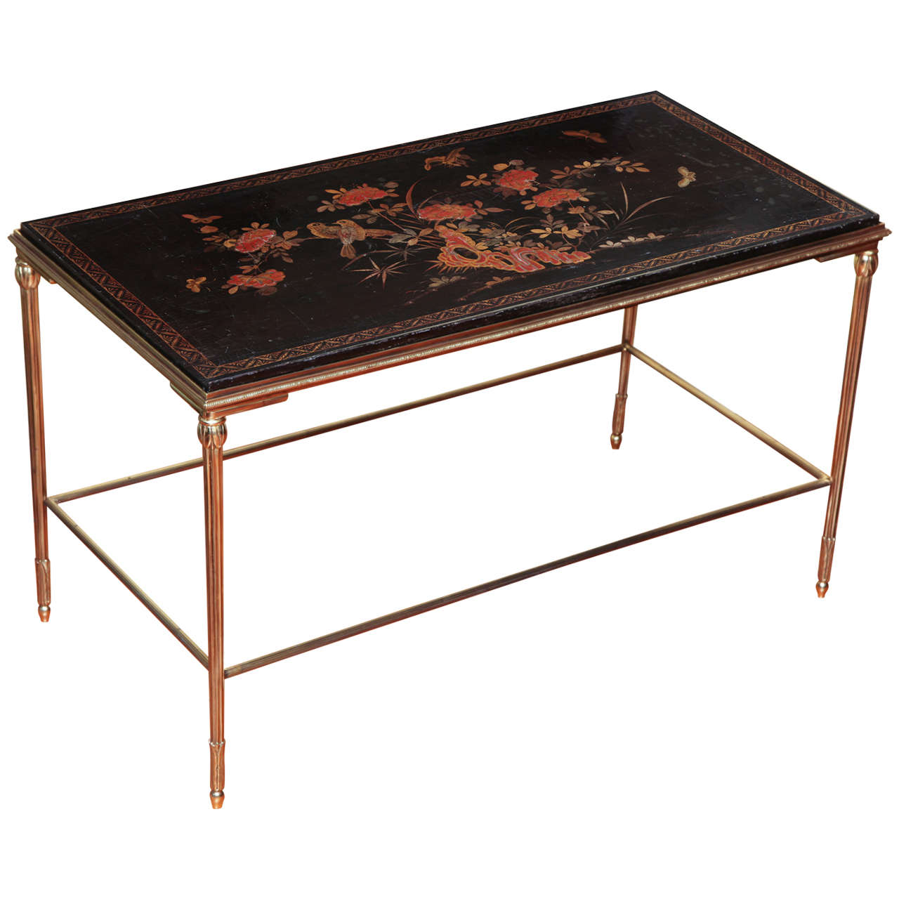 18th Century Chinese Lacquer Panel Baques Style Coffee Table, Circa 1950 1