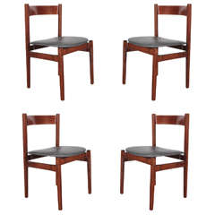 Set of Four Walnut Dining Chairs by Gianfranco Frattini