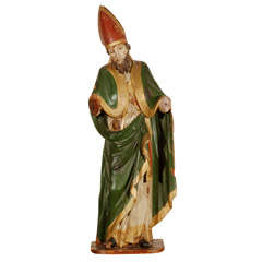 Late 18th/ Early 19th Century Wood Statue of a Bishop