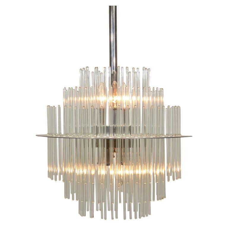 Lightolier Ring Chandelier At 1stdibs: Glass Rod Chandelier By Sciolori For Lightolier At 1stdibs