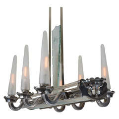French Art Deco Six-Cone Lighting Fixture