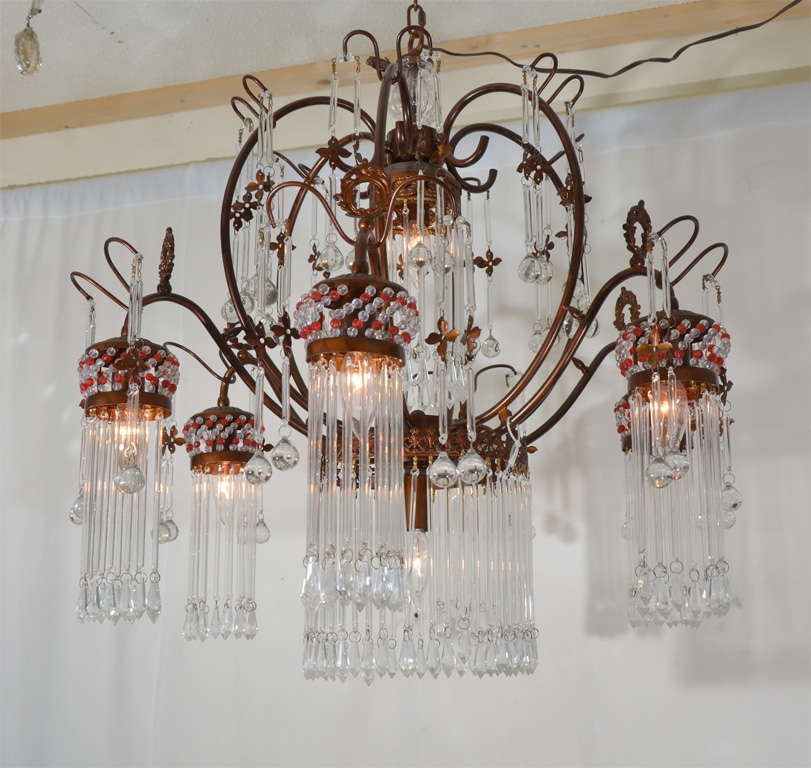 Red Aesthetic Chandelier: Six Light Italian Chandelier For Sale At 1stdibs
