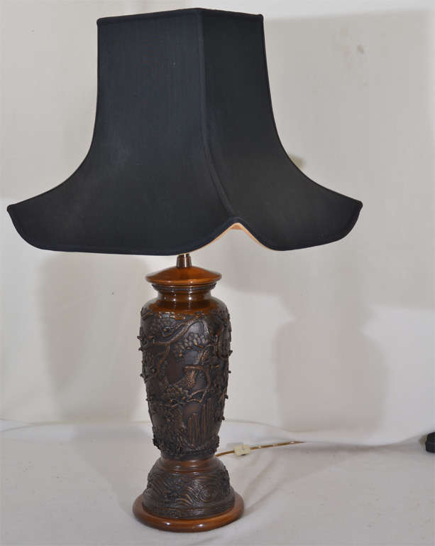 Pair Of Cast Bronze Asian Motif Table Lamps For Sale At