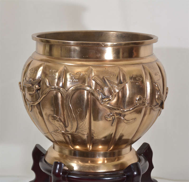 20th Century Cast Bronze Oriental Planter on Carved Ebony wood Stand For Sale