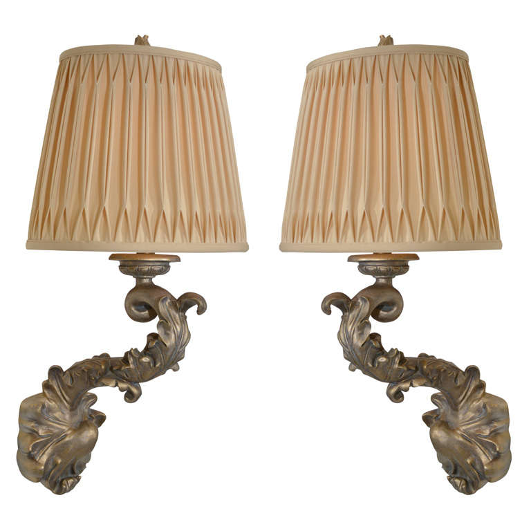 Pair of Beautiful 1970s Sirmos Trompe L'Oeil Plaster Wall Sconces