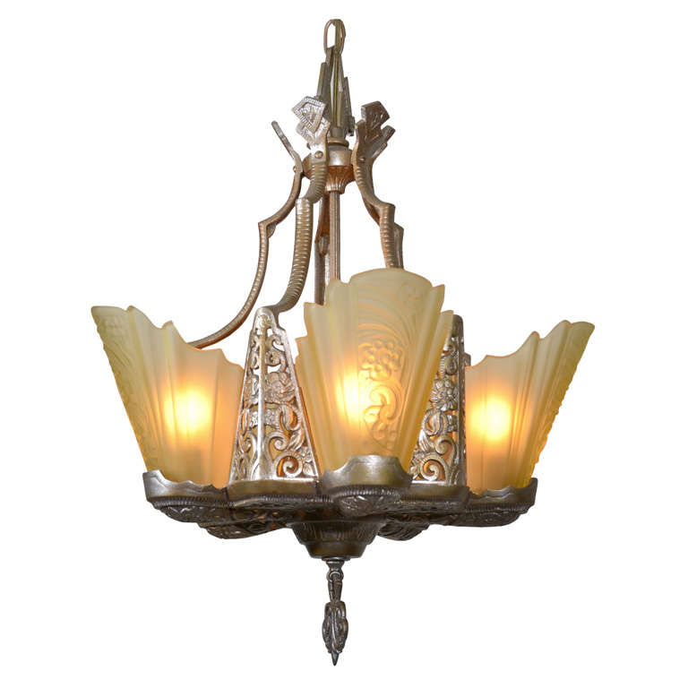 Art Deco Slip Shade Chandelier For