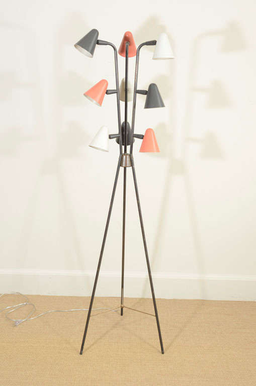 Gerald Thurston for Lightolier Enameled Tripod Floor Lamp 2