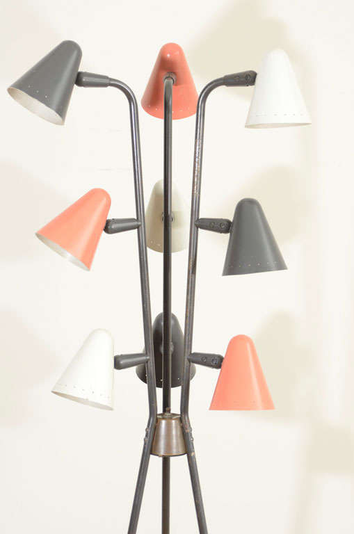 Gerald Thurston for Lightolier Enameled Tripod Floor Lamp 3