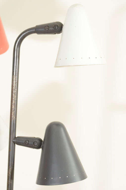 Gerald Thurston for Lightolier Enameled Tripod Floor Lamp 7