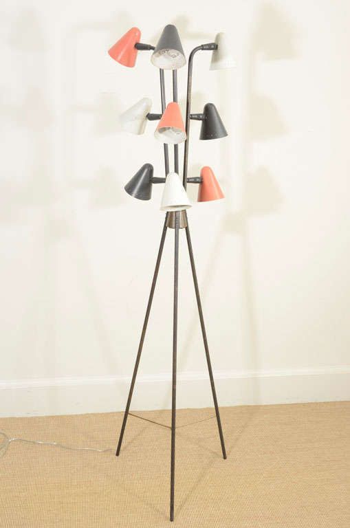 Gerald Thurston for Lightolier Enameled Tripod Floor Lamp 9