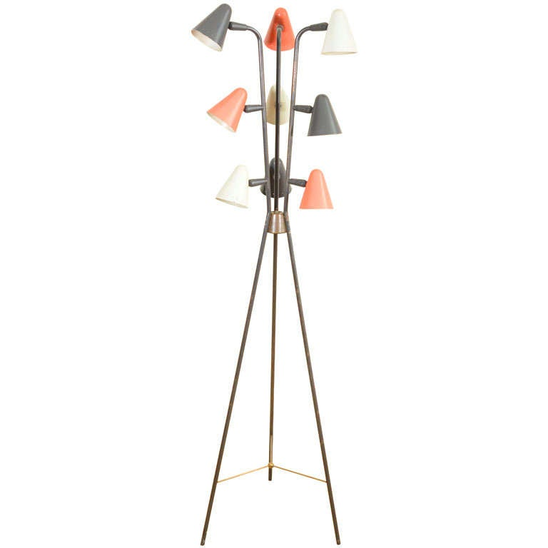 Gerald Thurston for Lightolier Enameled Tripod Floor Lamp 1