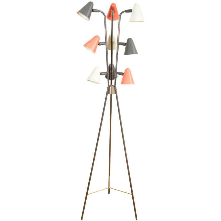 gerald thurston for lightolier enameled tripod floor lamp