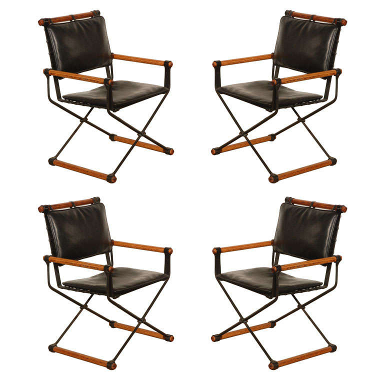 Set Of 4 Cleo Baldon Campaign Chairs For Sale
