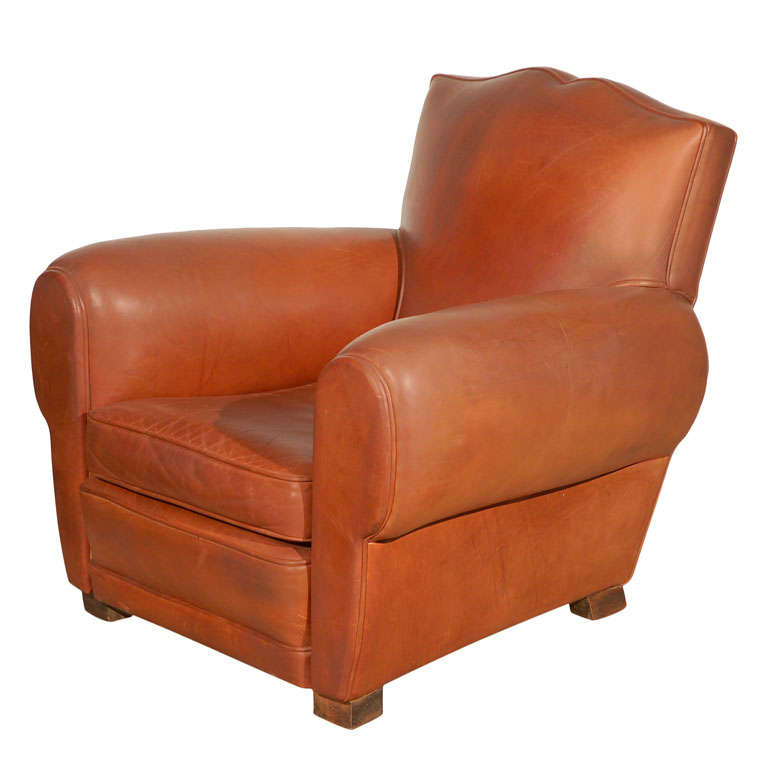 Leather Club Chair Moustache French Style At 1stdibs