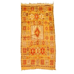 Moroccan Vintage Tribal Orange Organic Wool Rug