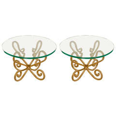 Glass on Gilded Iron Base Pair of Side Tables, Venetian Style