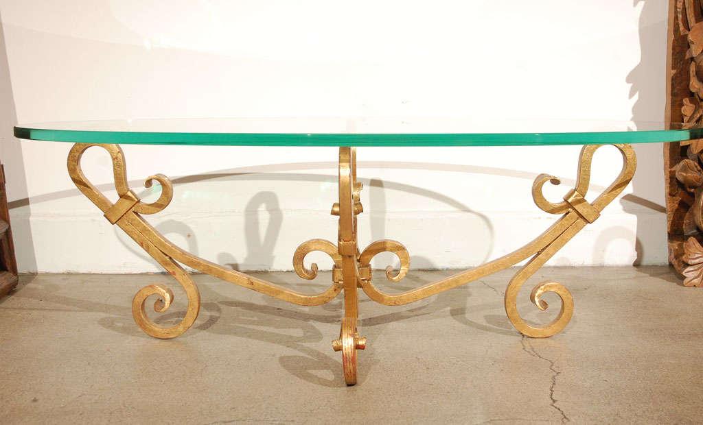 Hollywood Regency Gilt Iron Oval Glass Coffee Table Venetian Style For Sale