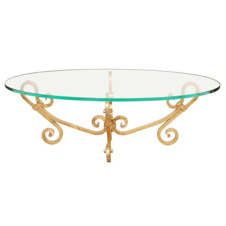 gilt iron oval glass coffee table venetian style 1